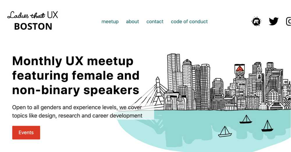 Ladies that UX Boston landing page